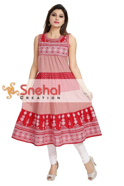 Robust Red and White Cotton Kalidaar Long Kurti for Women.