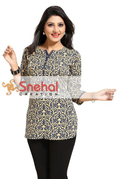 Intricate Celebration Short Printed Poly Crepe Tunic for Women