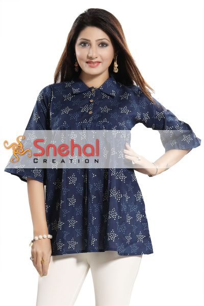 The Charming Chic Navy Blue Cotton Indian Designer Short Tunic