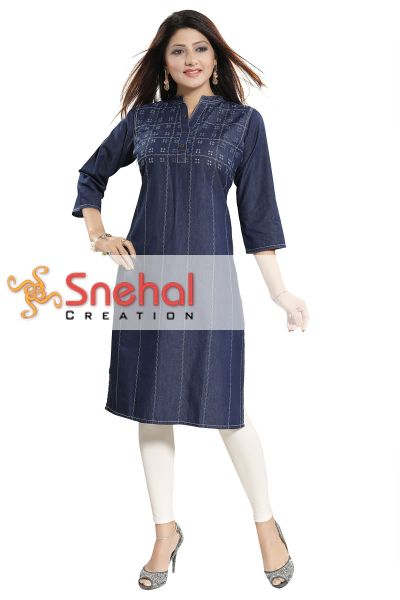 Stylish Attire Denim Everyday Tunic for Casual Wear