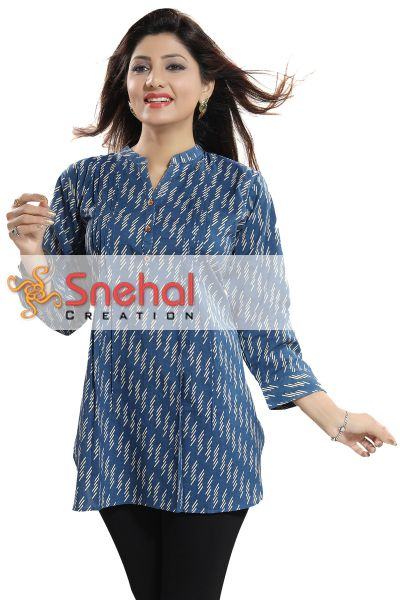 Blue Cotton Printed Short Kurti for Girls and Women