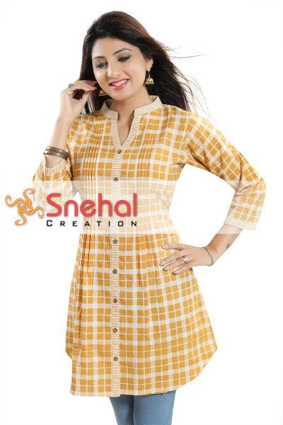 Wow Factor Yellow Checkered A-line Western Tunic Top with Pleat Design