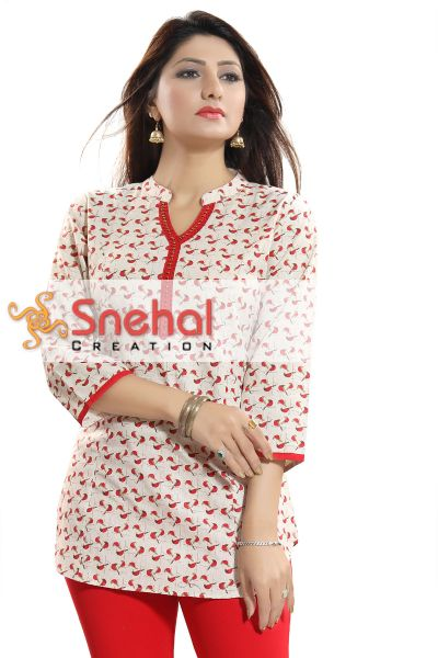 Right Choice Red and Cream Cotton Printed  Short Tunic Top