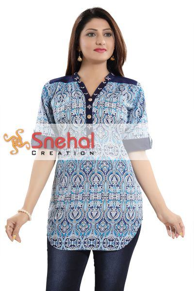 Lustre Blue Cotton Ethnic Printed Apple Bottom Short Tunic Top