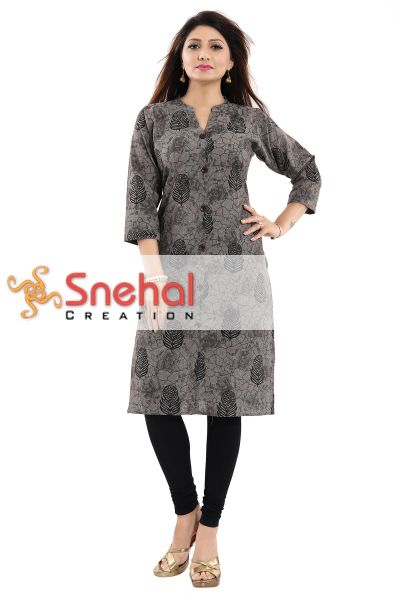 Beauteous Brown Jute Cotton Daily Wear Kurti with Block Print