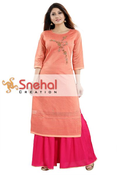 Dashing Dark Pink Rayon Cotton Tunic with Exquisite Gold Floral Embroidery
