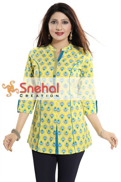 Vibrance Unlimited Lemon Yellow Cotton Printed Short Tunic Top