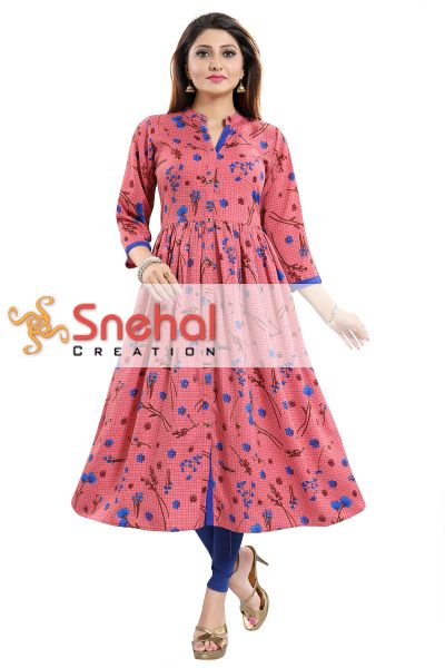 Pink Fiesta Floral Printed Flared Front Open Long Kurta for Ladies