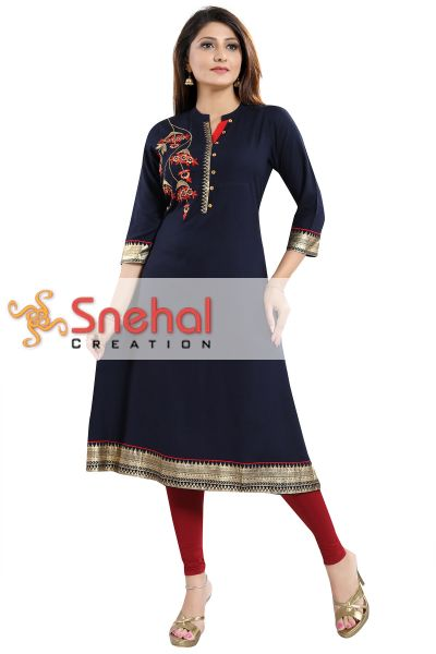 Elegant Ethnic Navy Blue Rayon Cotton Flared Long Kurti with Designer Embroidery