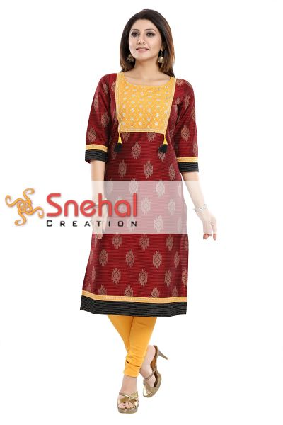Ethnic Fiesta Maroon Raw Silk Tunic