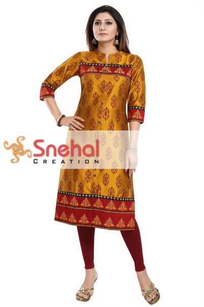 Ethnic Mustard Raw Silk Tunic for Formal Occasions