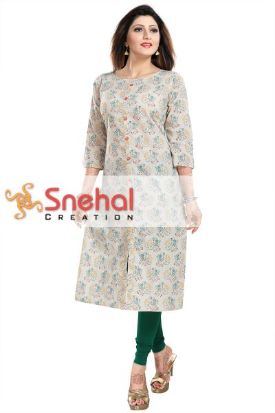 Cotton Printed Long Tunic for Work Wear