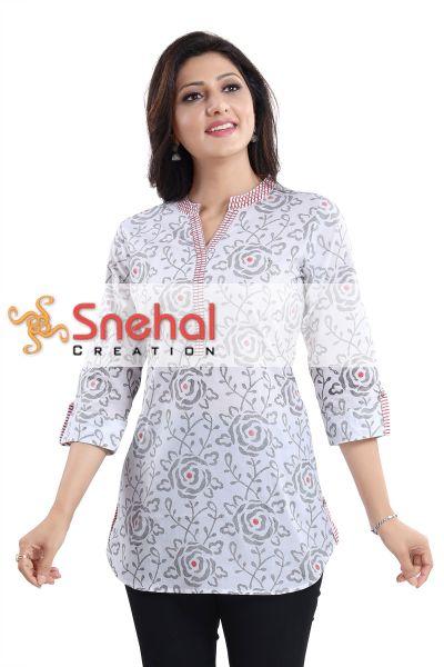 Vibrant Vigour White Cotton Printed Short Tunic Top for Women