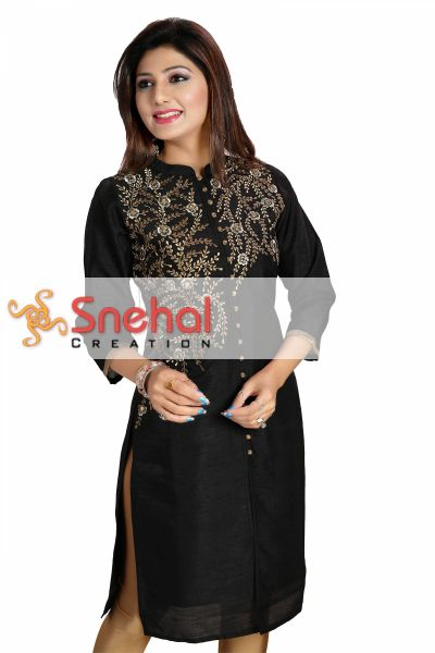 Black Bedazzle Raw Silk Collared Kurti Tunic with Threadwork