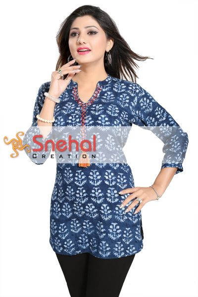 Prime Plush Rayon Cotton Blue Short Kurta with PomPom