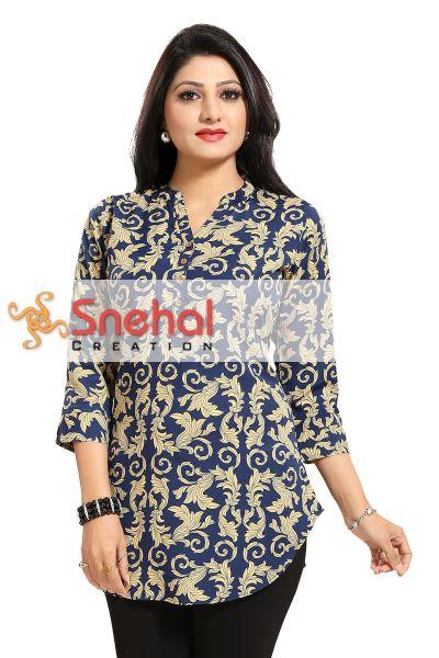 Ethnic Galore Blue Short Tunic Top for Women