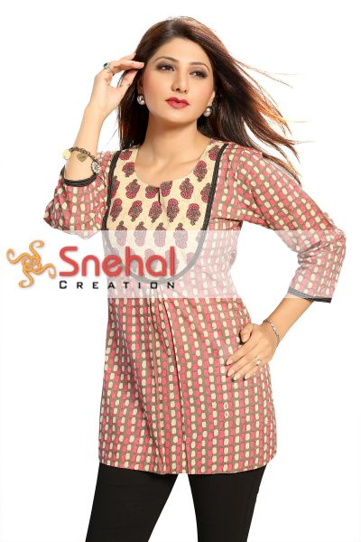 Cotton Designer Short Tunic Top for Women