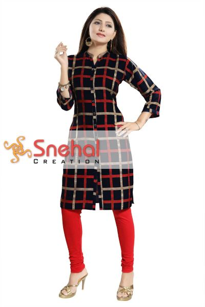 Black Beauty Checkered Long Tunic for Women