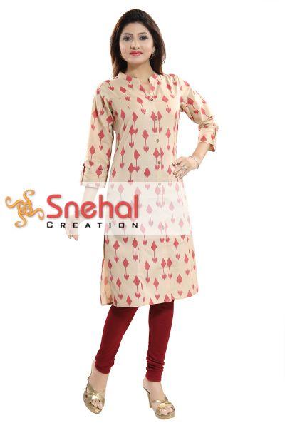 Designer Beige Ikkat Print Achkan-Style Long Kurta For Women