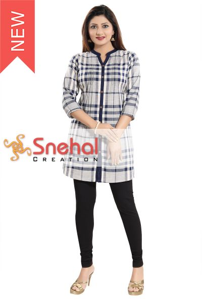 Wow Factor Blue Checkered A-line Western Tunic Top with Pleat Design