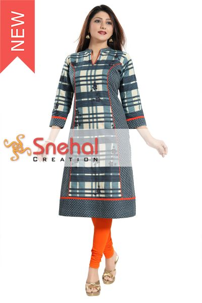 DESIGNER LONG CHECKERED KURTI FOR WOMEN