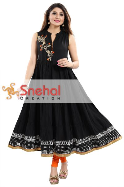 Black Rayon Printed Anarkali Style Sleeveless Tunic with Floral Patchwork