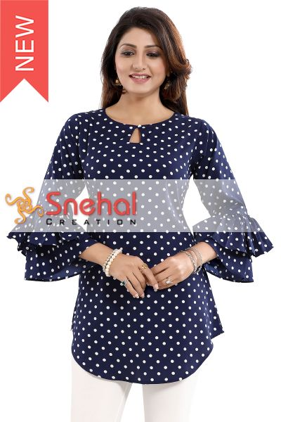 Polka Dot Poly Crepe Apple Bottom Short Tunic Top with Frilled Sleeves