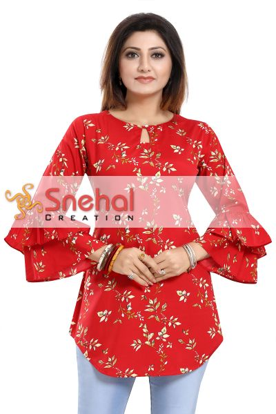 Floral Attire Red Poly Crepe Short Kurta with Frilled Sleeves